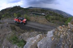 Trucks took guests in a quarry